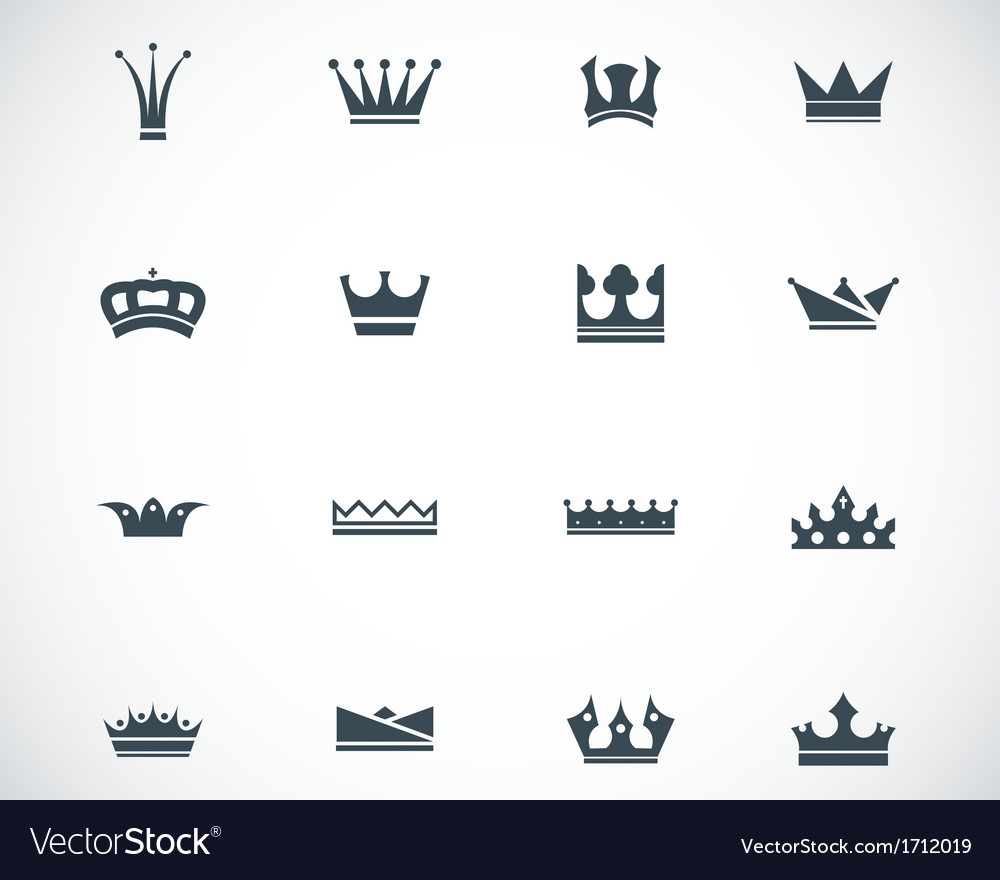 Black crown icons set vector | Price: 1 Credit (USD $1)
