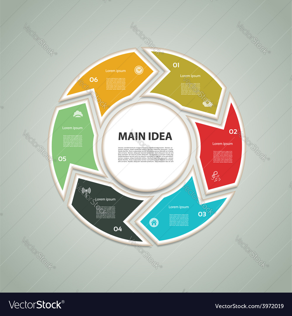 Cyclic diagram with six steps and icons eps 10 vector | Price: 1 Credit (USD $1)
