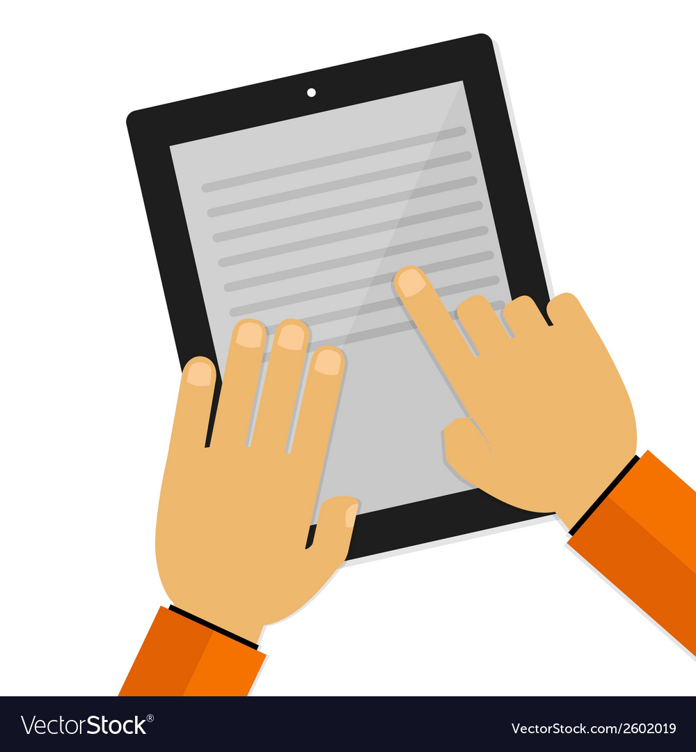 Hand touching screen and reading vector | Price: 1 Credit (USD $1)