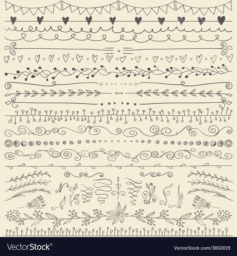Set of hand drawn lines border and elegant design vector | Price: 1 Credit (USD $1)