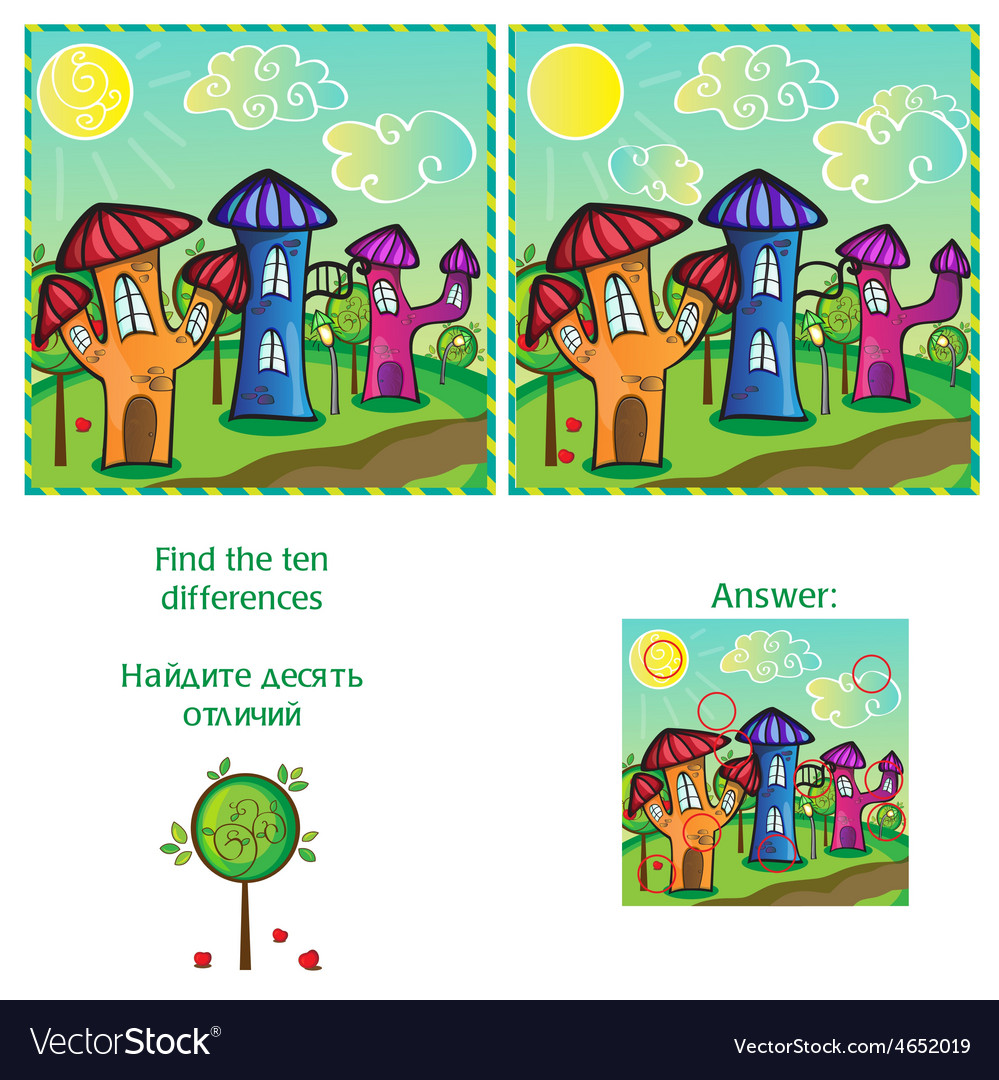 Visual game - find 10 differences - with answer vector | Price: 1 Credit (USD $1)