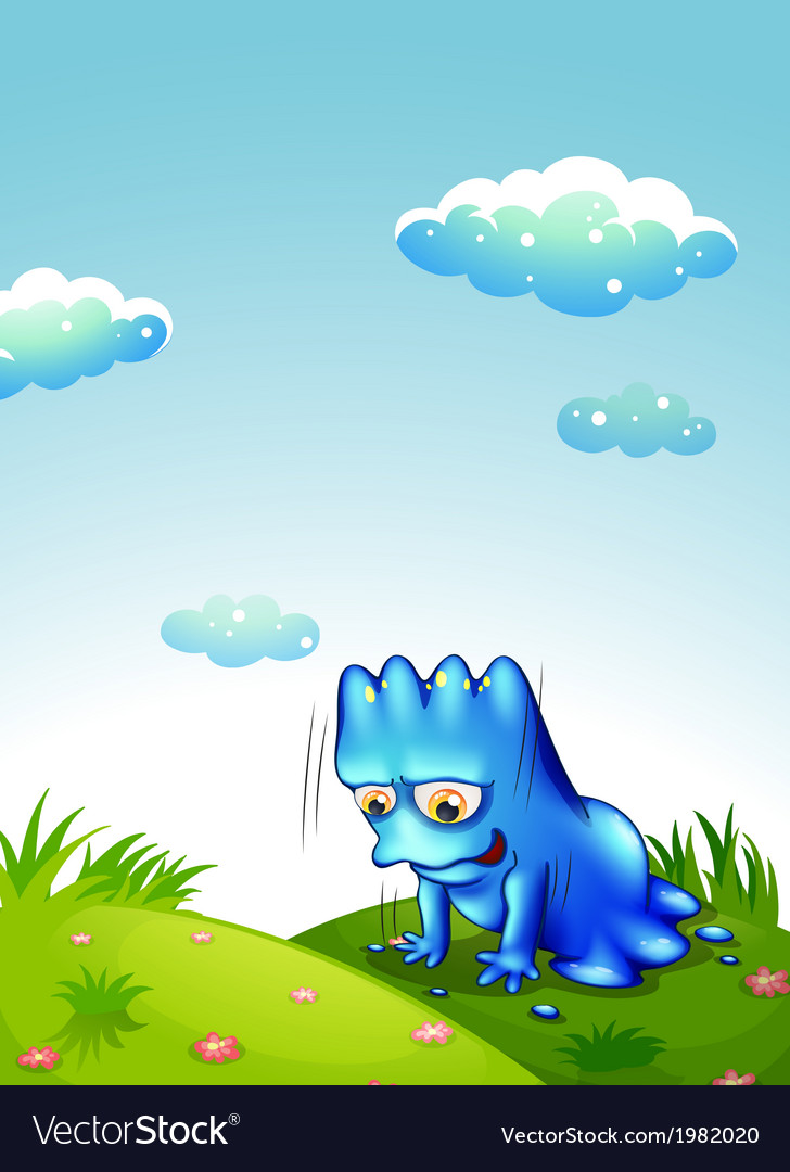 A monster exercising at the top of the hill vector   Price: 1 Credit (USD $1)