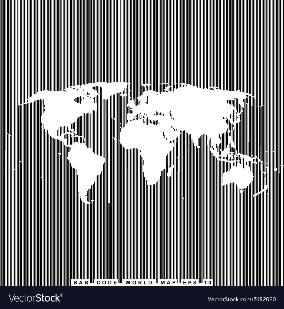 Bar code line world map vector | Price: 1 Credit (USD $1)