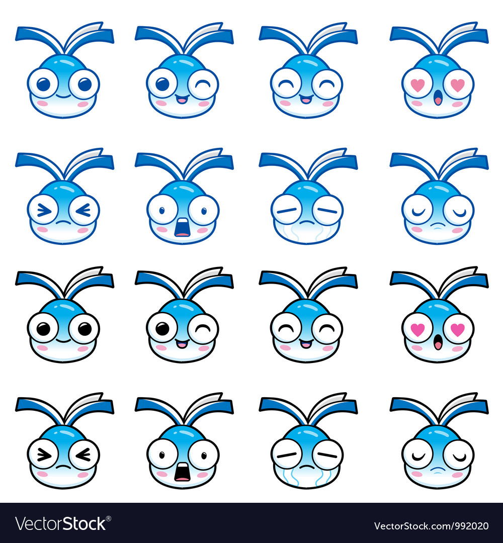 Book character with a variety of facial expression vector | Price: 3 Credit (USD $3)