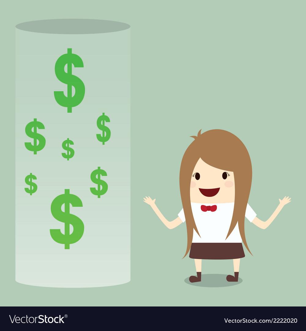 Businesswoman happy get money bonus from bank vector   Price: 1 Credit (USD $1)