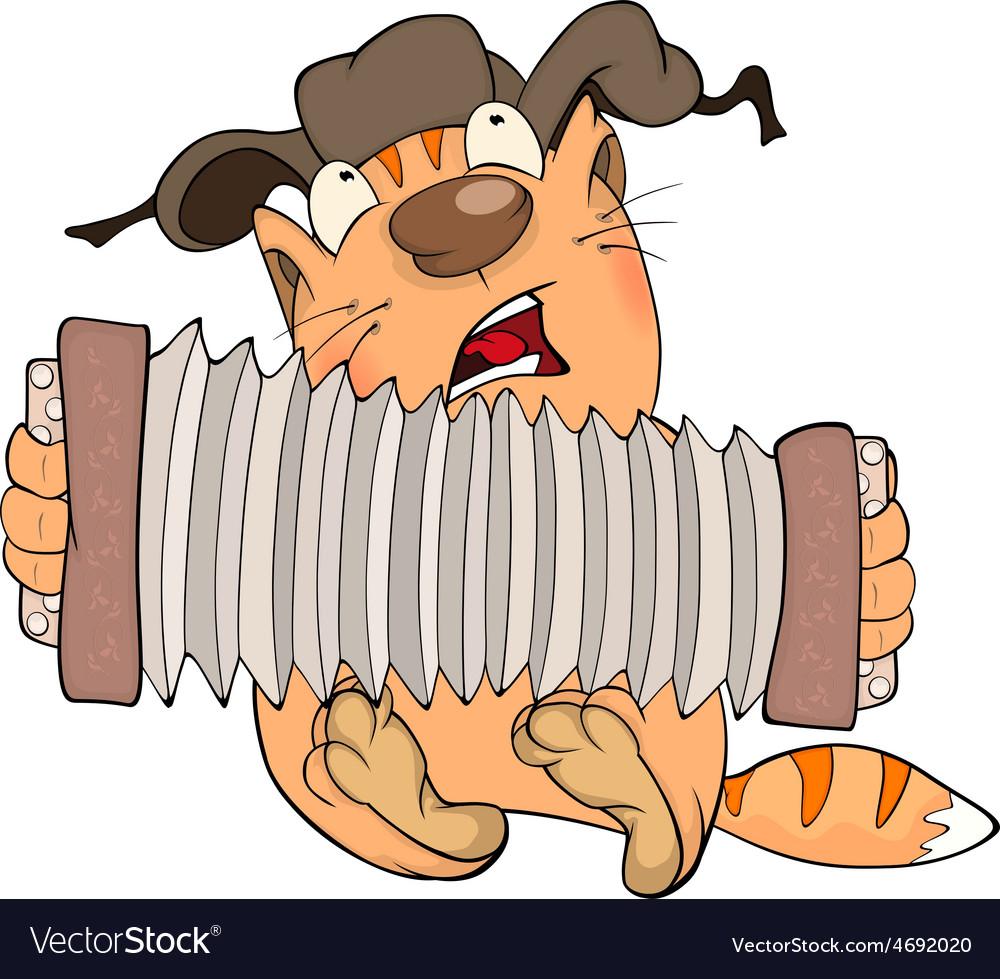 Cat and accordion cartoon vector   Price: 1 Credit (USD $1)