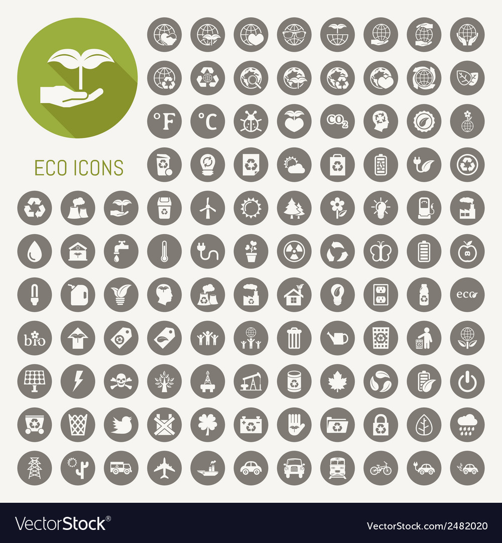 Ecology icons set vector | Price: 1 Credit (USD $1)