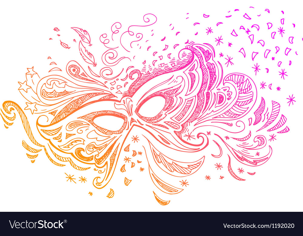Elegant sketched with carnival mask vector | Price: 1 Credit (USD $1)