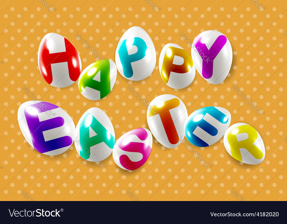 Happy easter decorative festive lettering vector | Price: 1 Credit (USD $1)