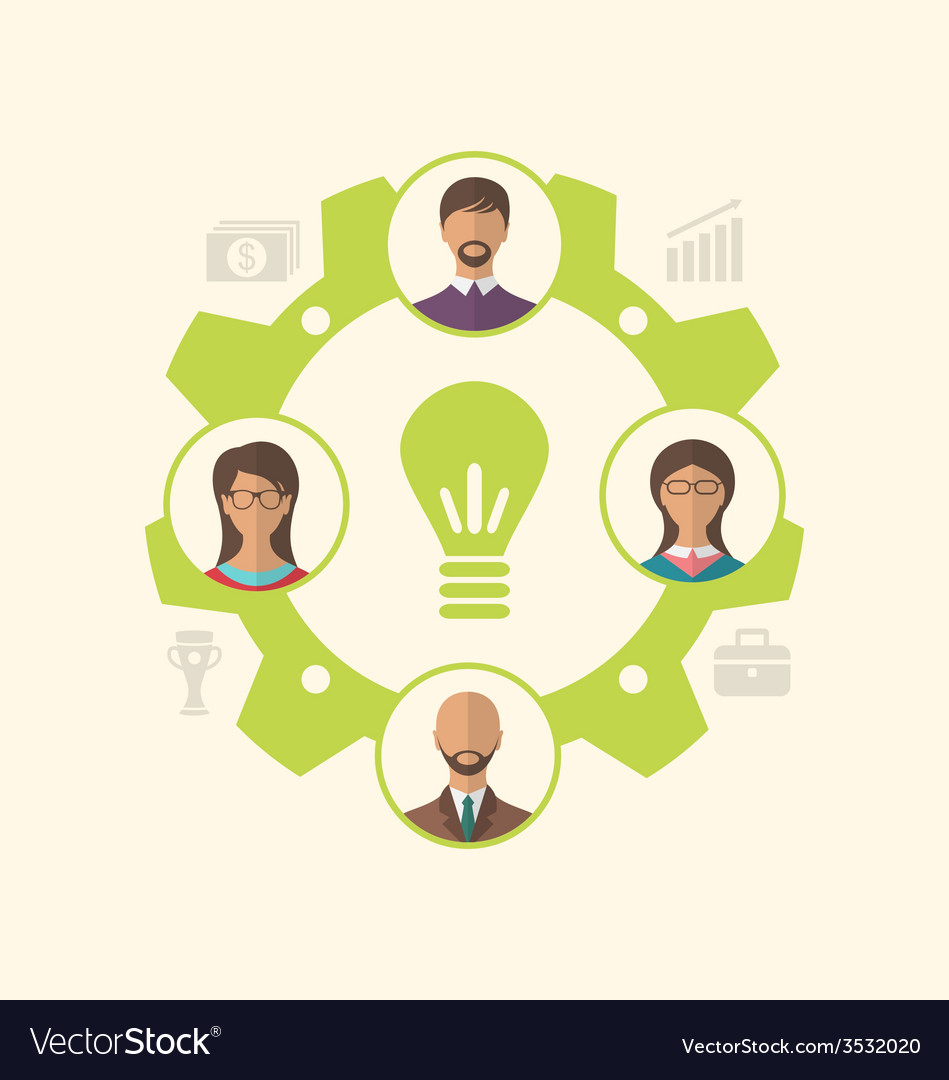 Idea of teamwork and success business people vector | Price: 1 Credit (USD $1)