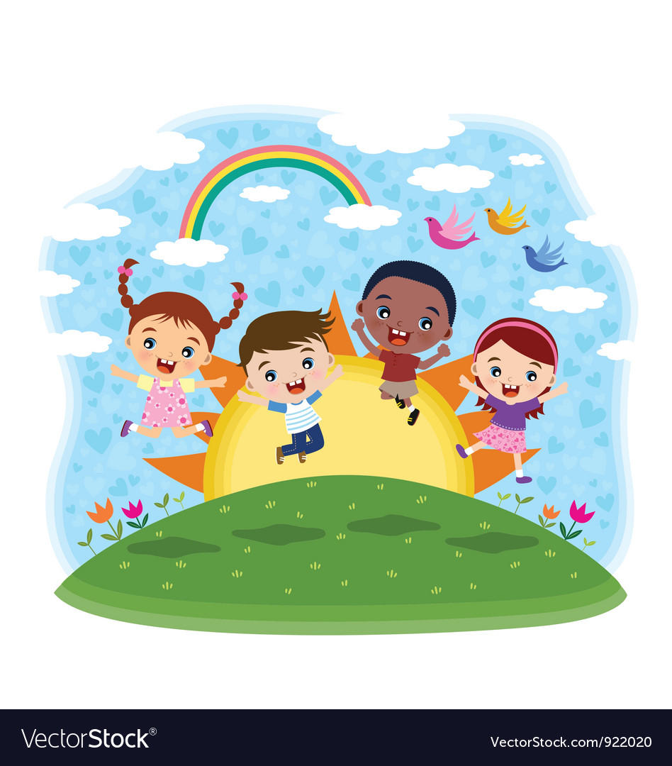 Kids jumping at the hill vector | Price: 3 Credit (USD $3)