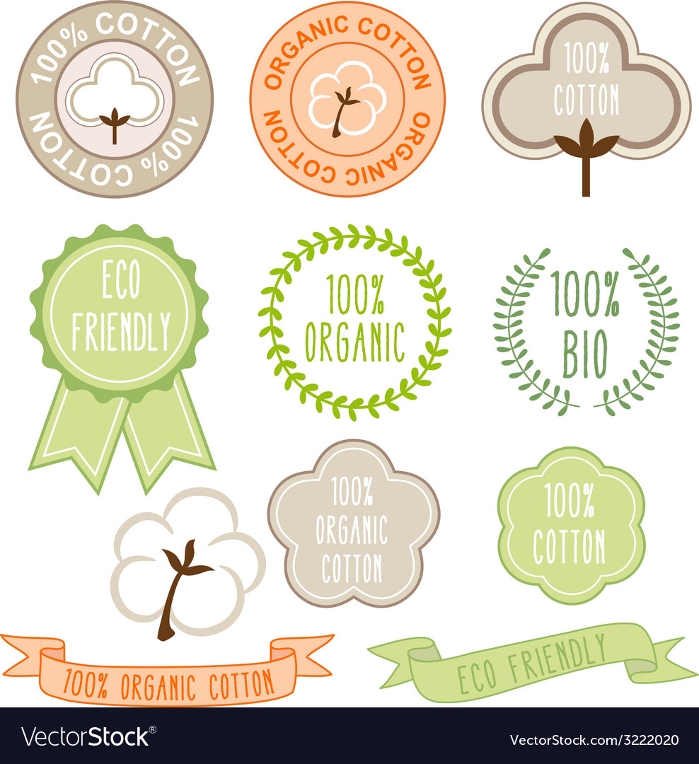 Organic cotton signs set vector | Price: 1 Credit (USD $1)