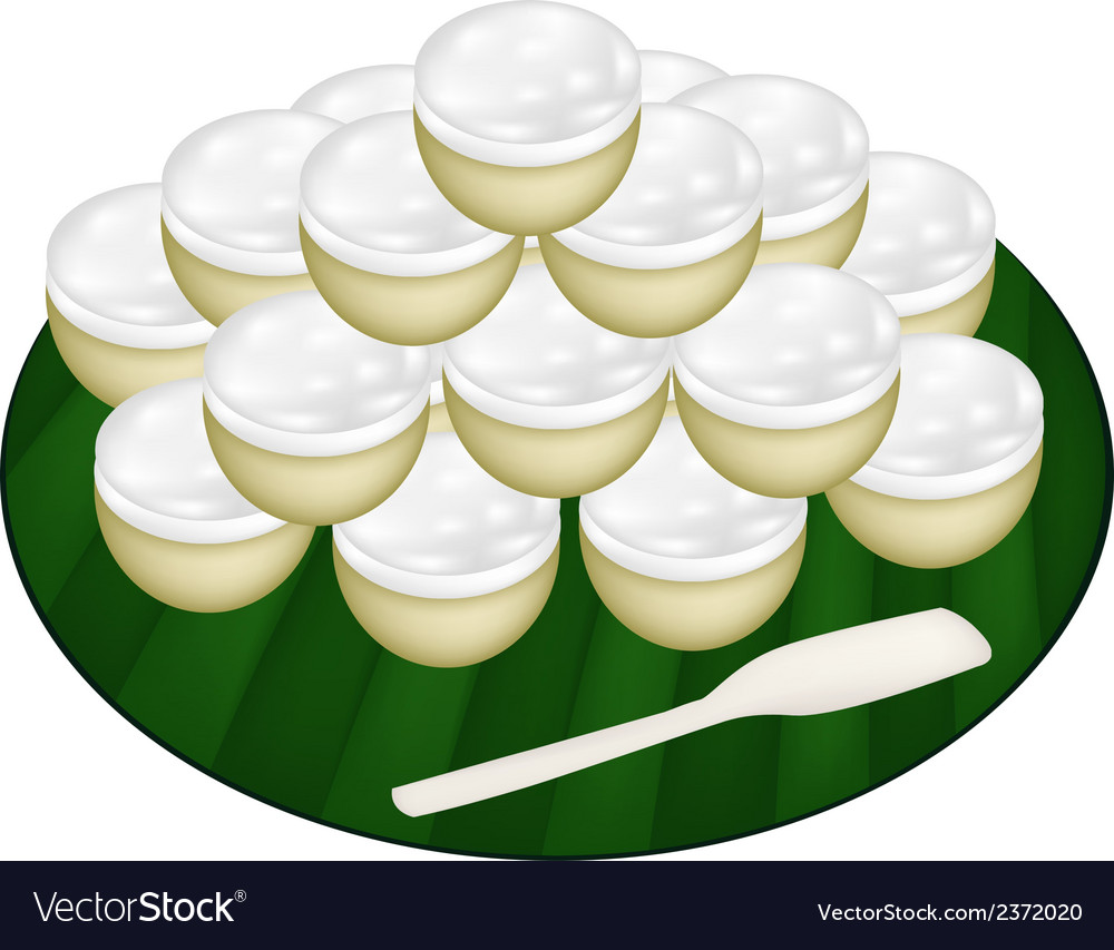Pile of coconut custard on banana leaf vector | Price: 1 Credit (USD $1)