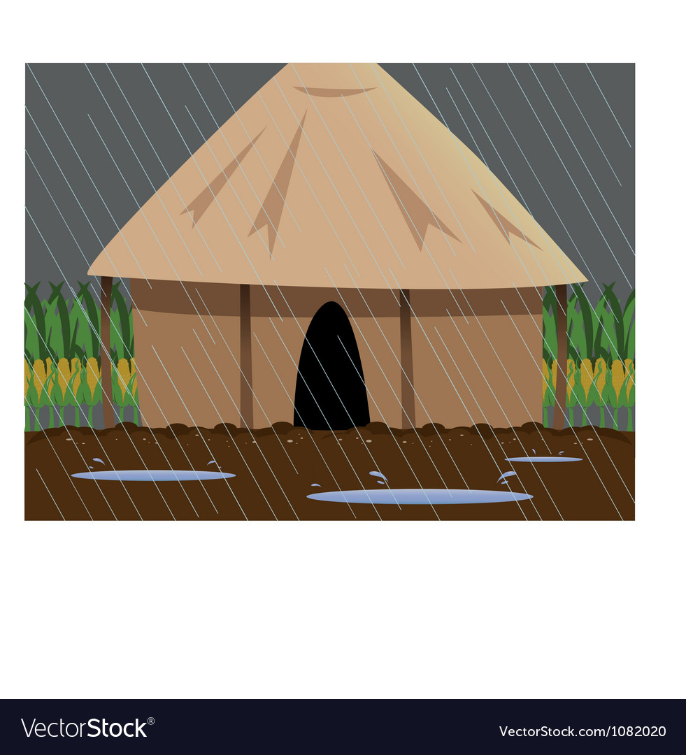 Rainy village vector | Price: 1 Credit (USD $1)