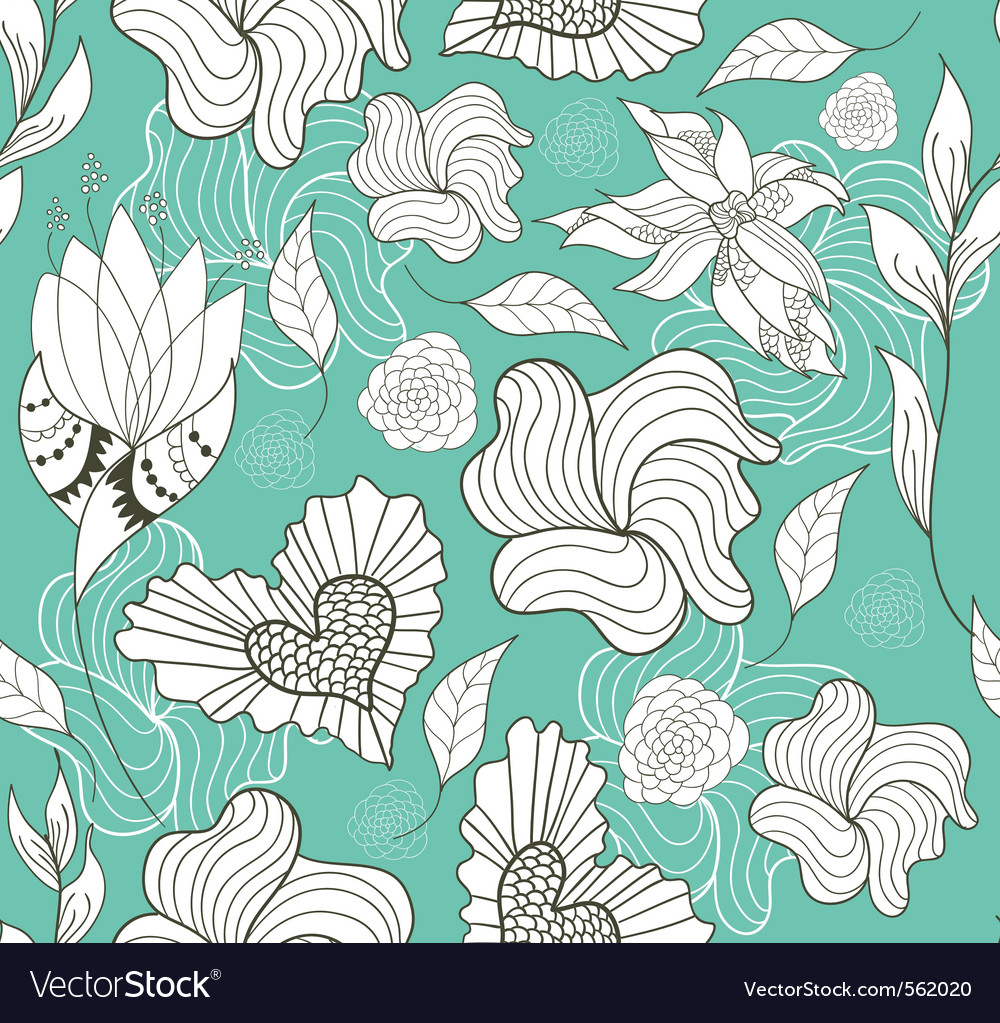 Seamless doodle flowers and hearts pattern vector | Price: 1 Credit (USD $1)
