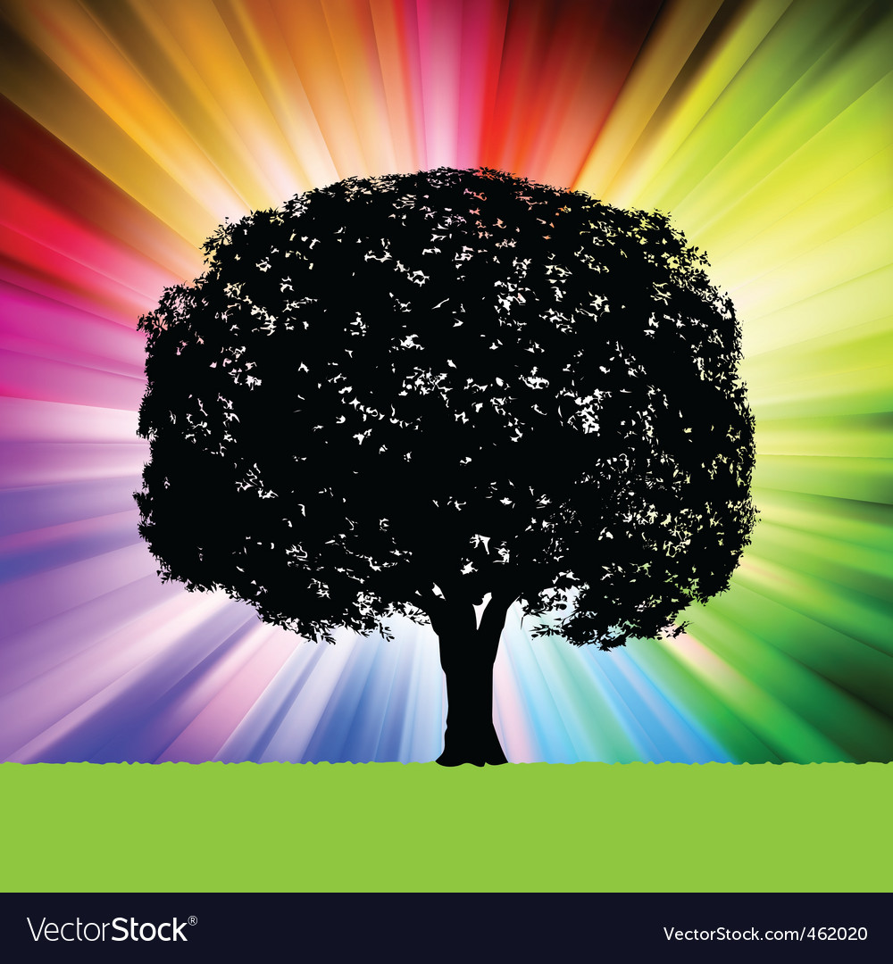 Tree silhouette colorful background vector | Price: 1 Credit (USD $1)