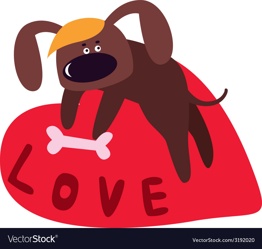 Valentine design with cute dog cartoon character vector | Price: 1 Credit (USD $1)
