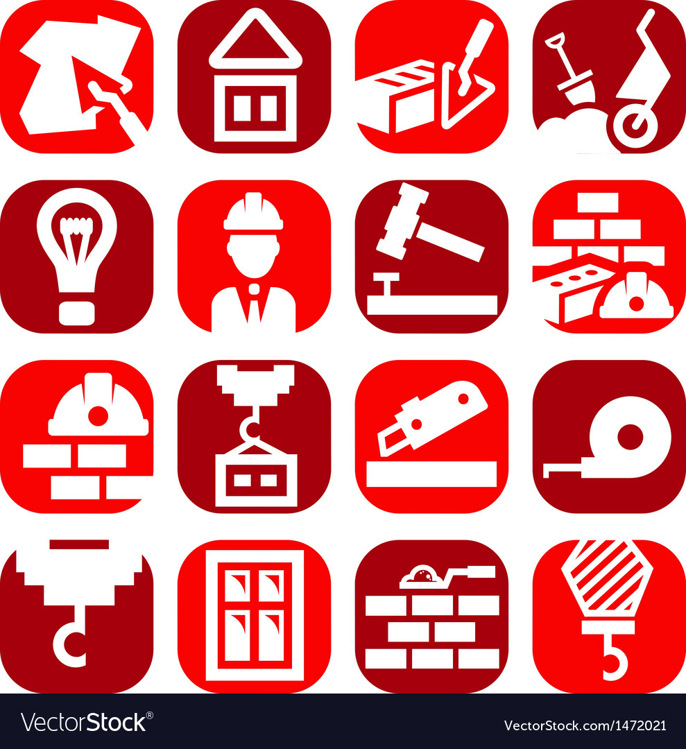 Color construction icons set vector | Price: 1 Credit (USD $1)