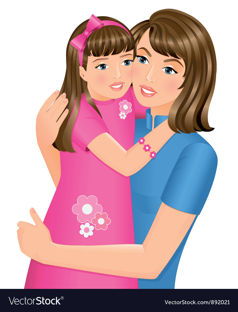 Daughter hugging her mother vector | Price: 3 Credit (USD $3)