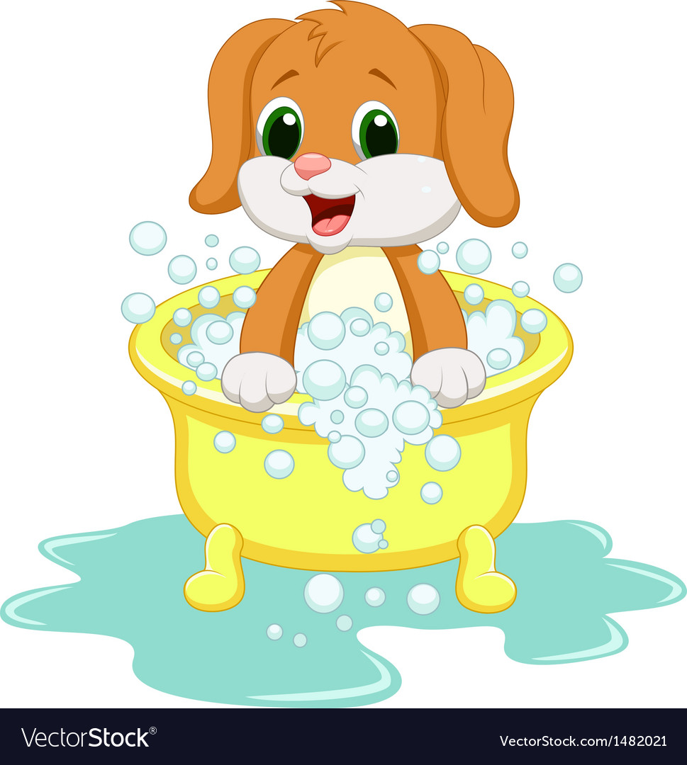 Dog cartoon bathing vector | Price: 1 Credit (USD $1)