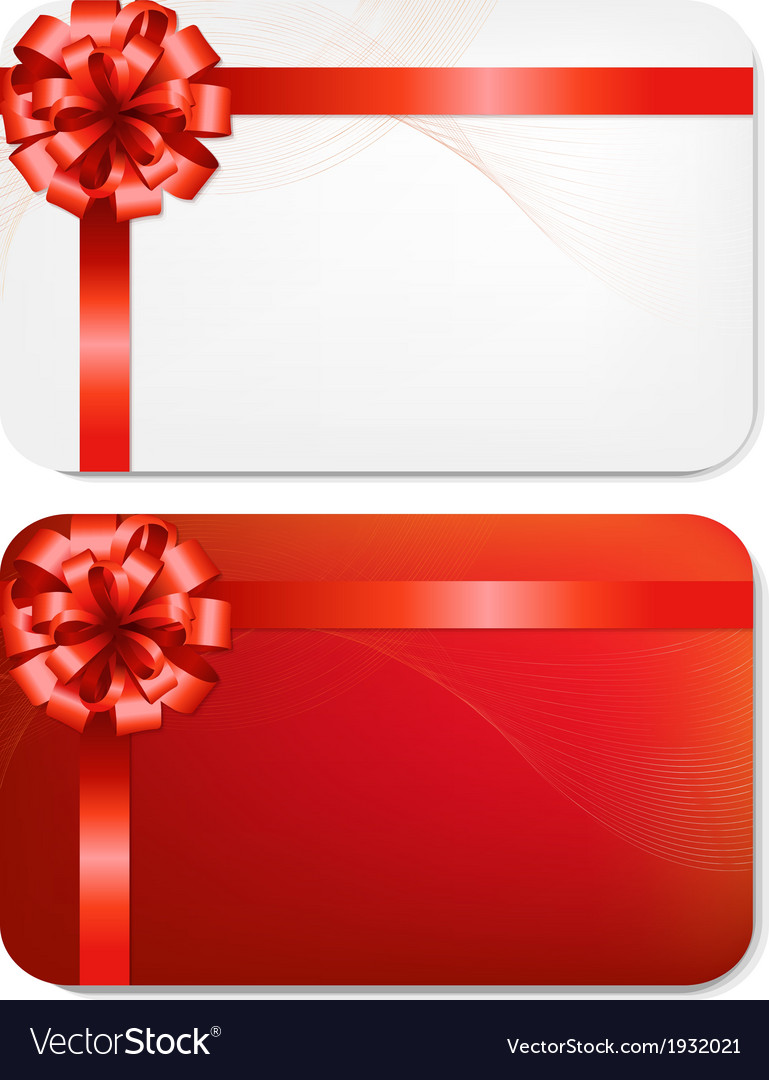 Gift card with red bow vector   Price: 1 Credit (USD $1)