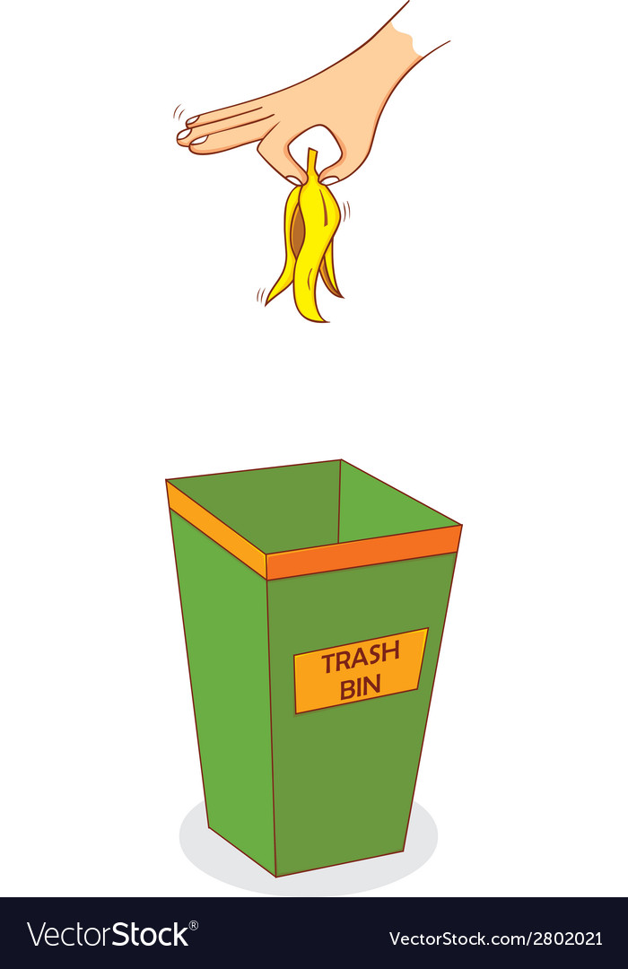 Hand above trashbin vector | Price: 1 Credit (USD $1)