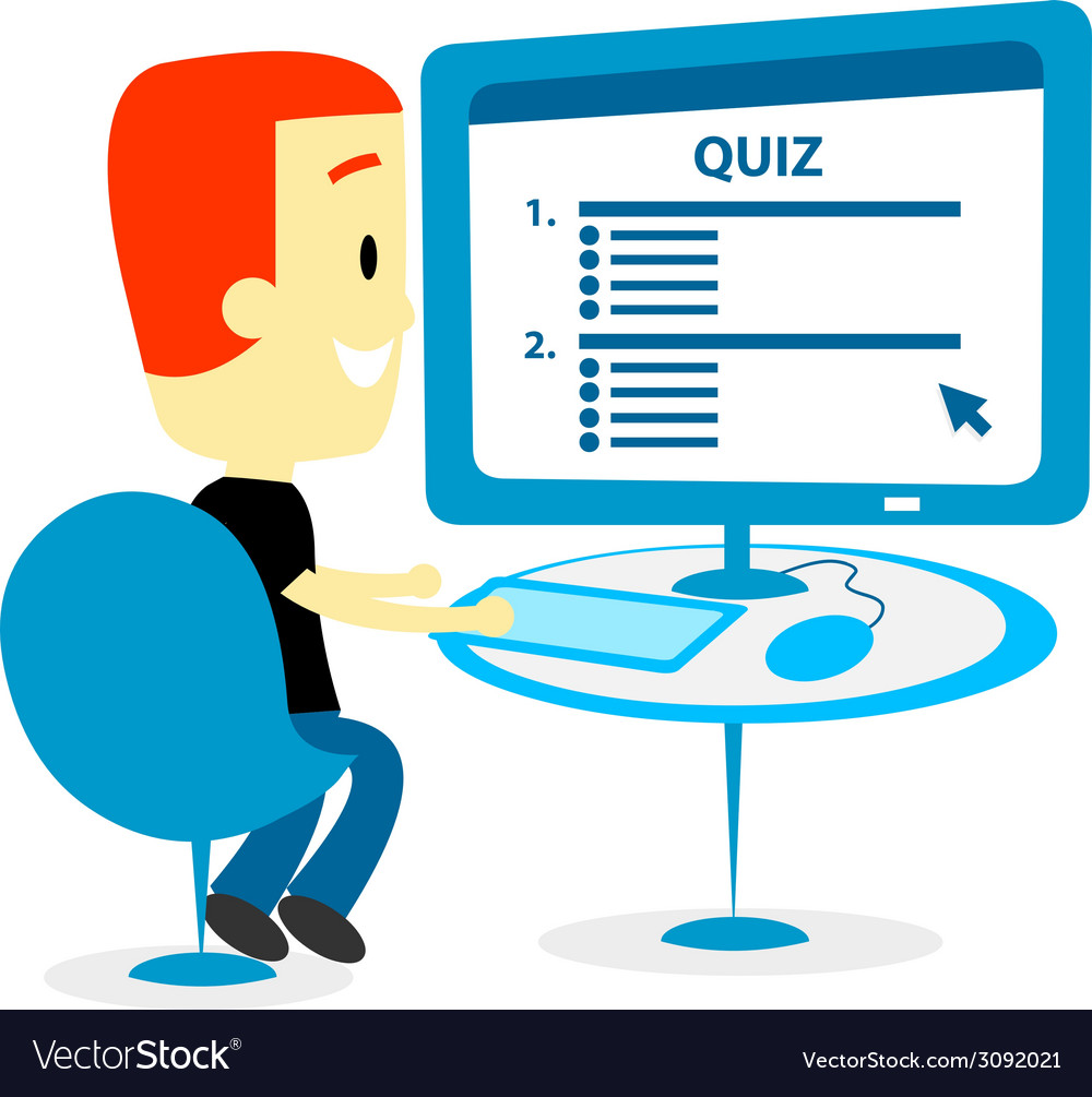 Man taking a quiz on computer screen vector | Price: 1 Credit (USD $1)