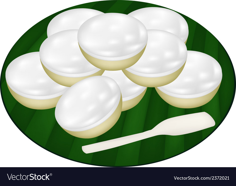 Pile of coconut puddings on banana leaf vector | Price: 1 Credit (USD $1)