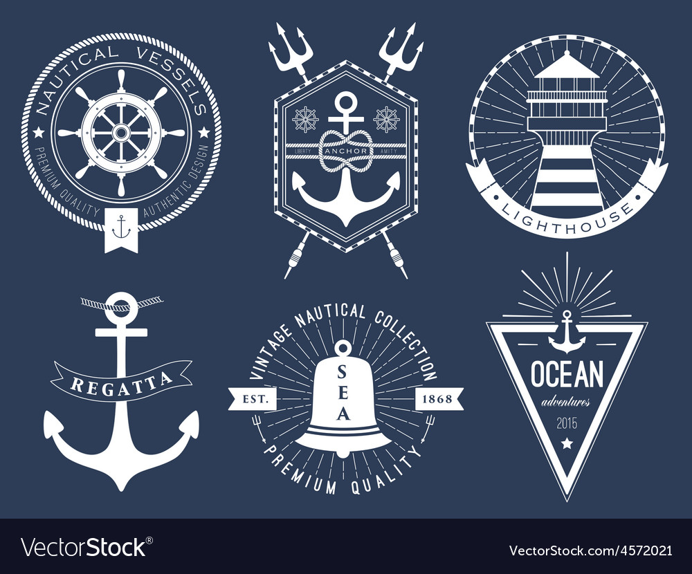 Set of nautical logos badges and labels vector | Price: 1 Credit (USD $1)