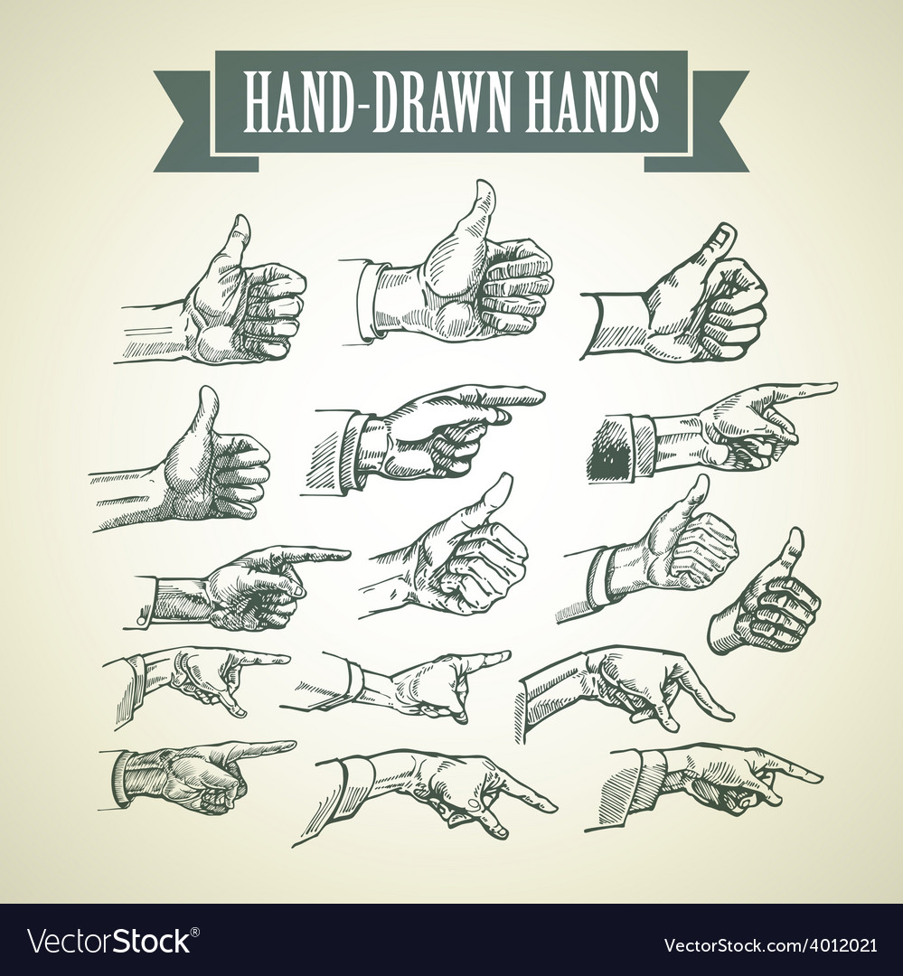 Set of vintage hand-painted hands vector | Price: 1 Credit (USD $1)
