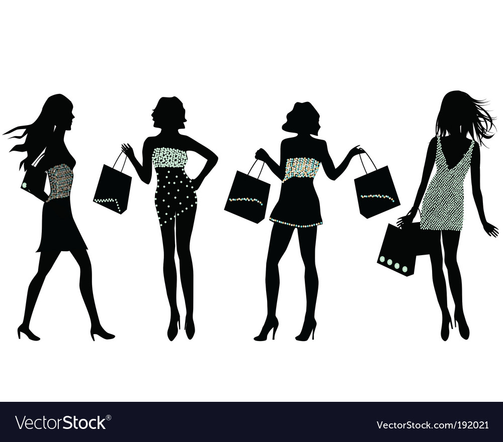 Shopping silhouettes vector | Price: 1 Credit (USD $1)