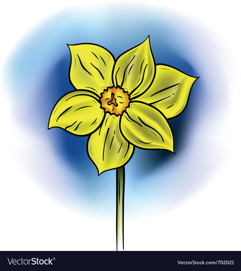 Yellow flower on the blue background vector | Price: 1 Credit (USD $1)