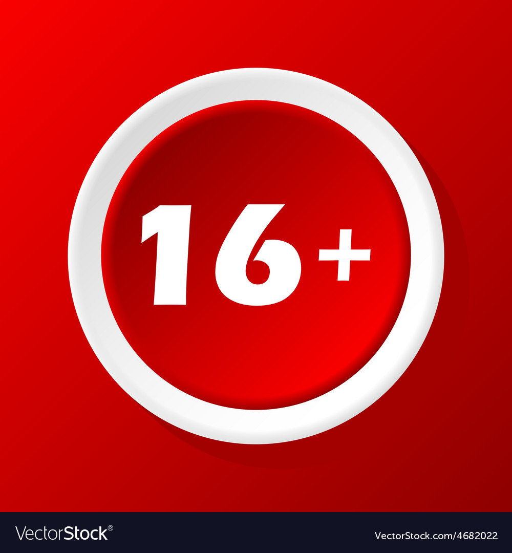 Age restriction icon on red vector | Price: 1 Credit (USD $1)