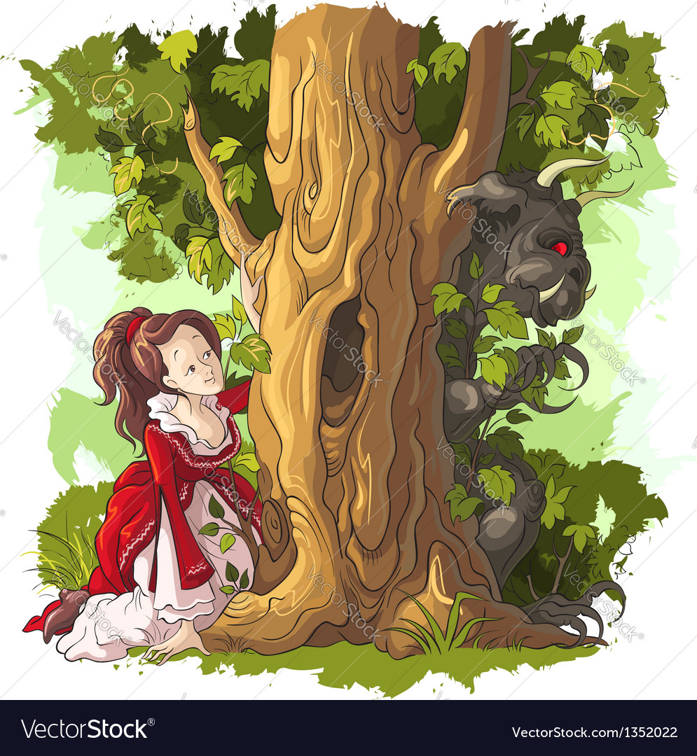 Beauty and the beast fairy tale vector | Price: 5 Credit (USD $5)