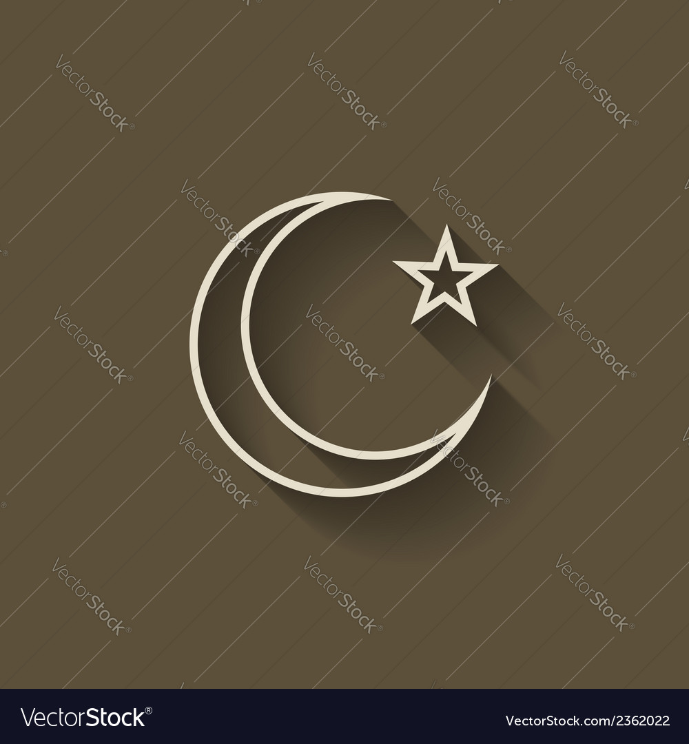 Crescent moon and star vector | Price: 1 Credit (USD $1)