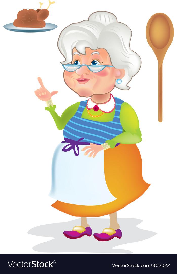 Grandma cooking vector | Price: 1 Credit (USD $1)