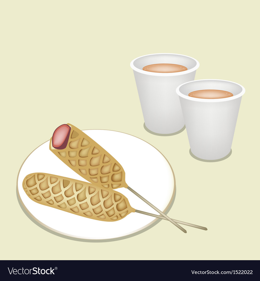 Hot coffee in disposable cup with corn dog vector | Price: 1 Credit (USD $1)
