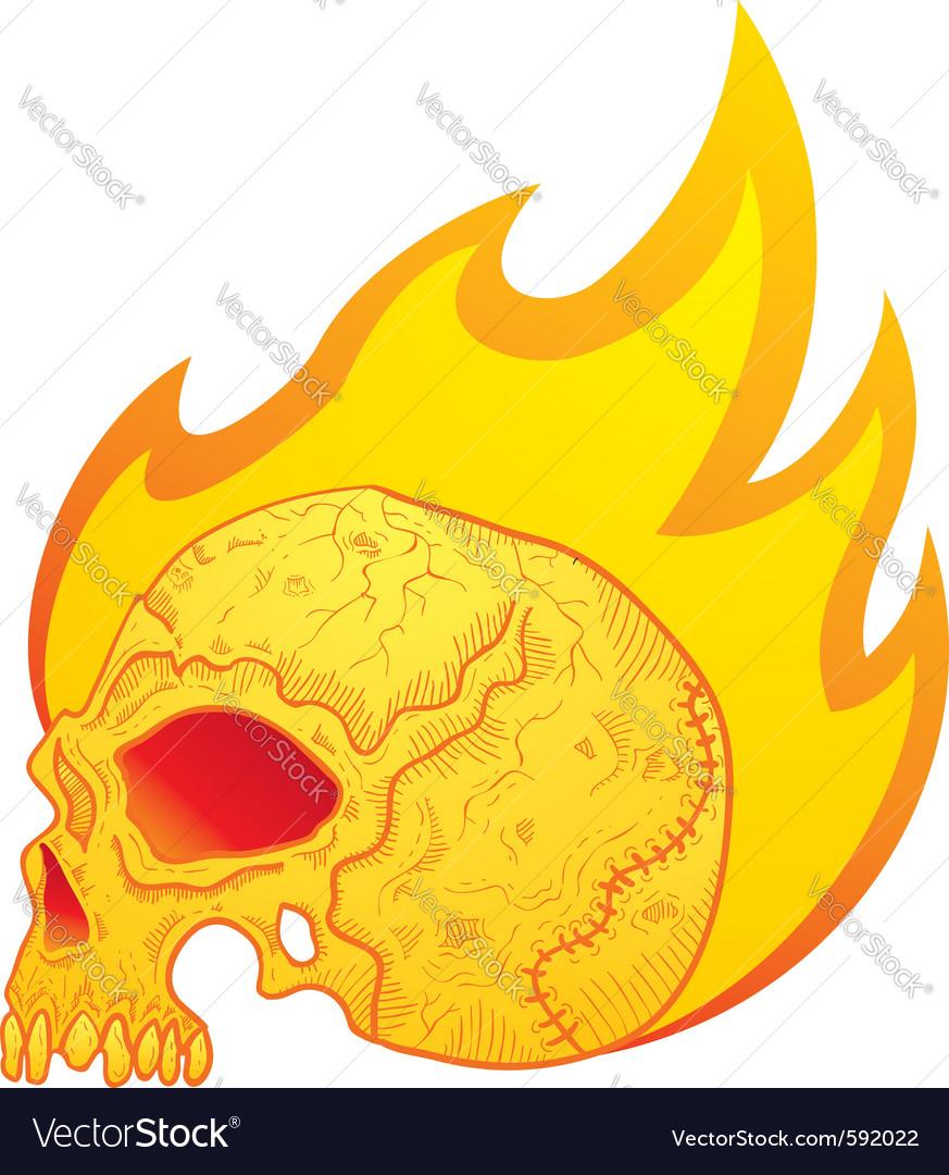 Skull in flames vector | Price: 1 Credit (USD $1)
