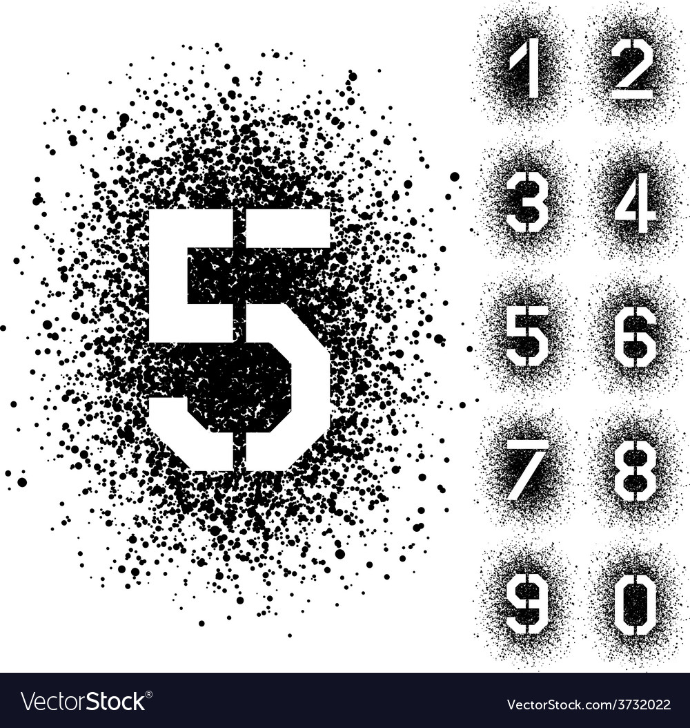 Spray stencil angular font numbers vector | Price: 1 Credit (USD $1)