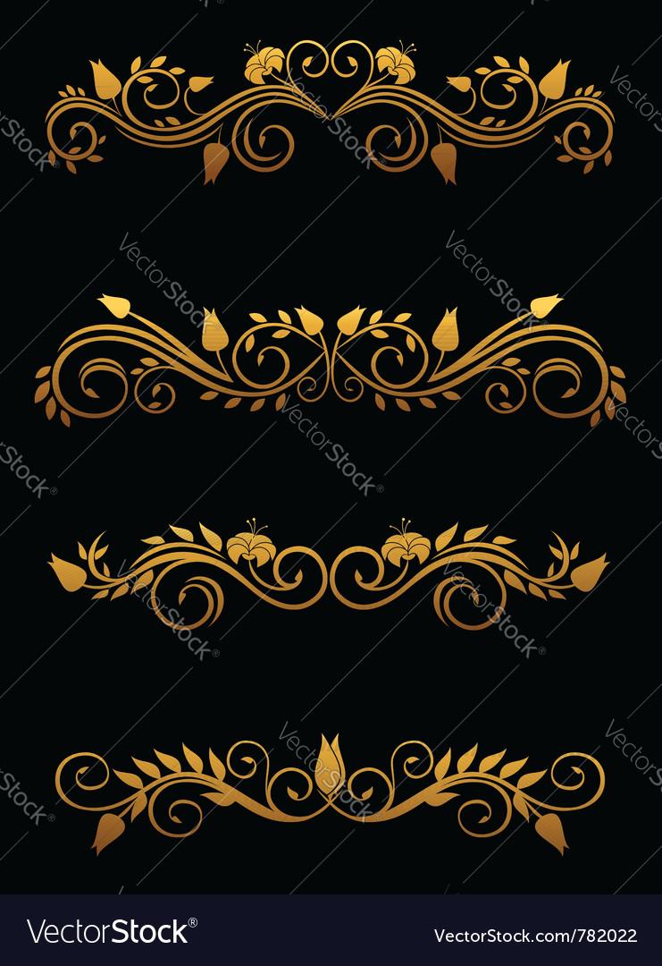 Vintage floral elements vector | Price: 1 Credit (USD $1)