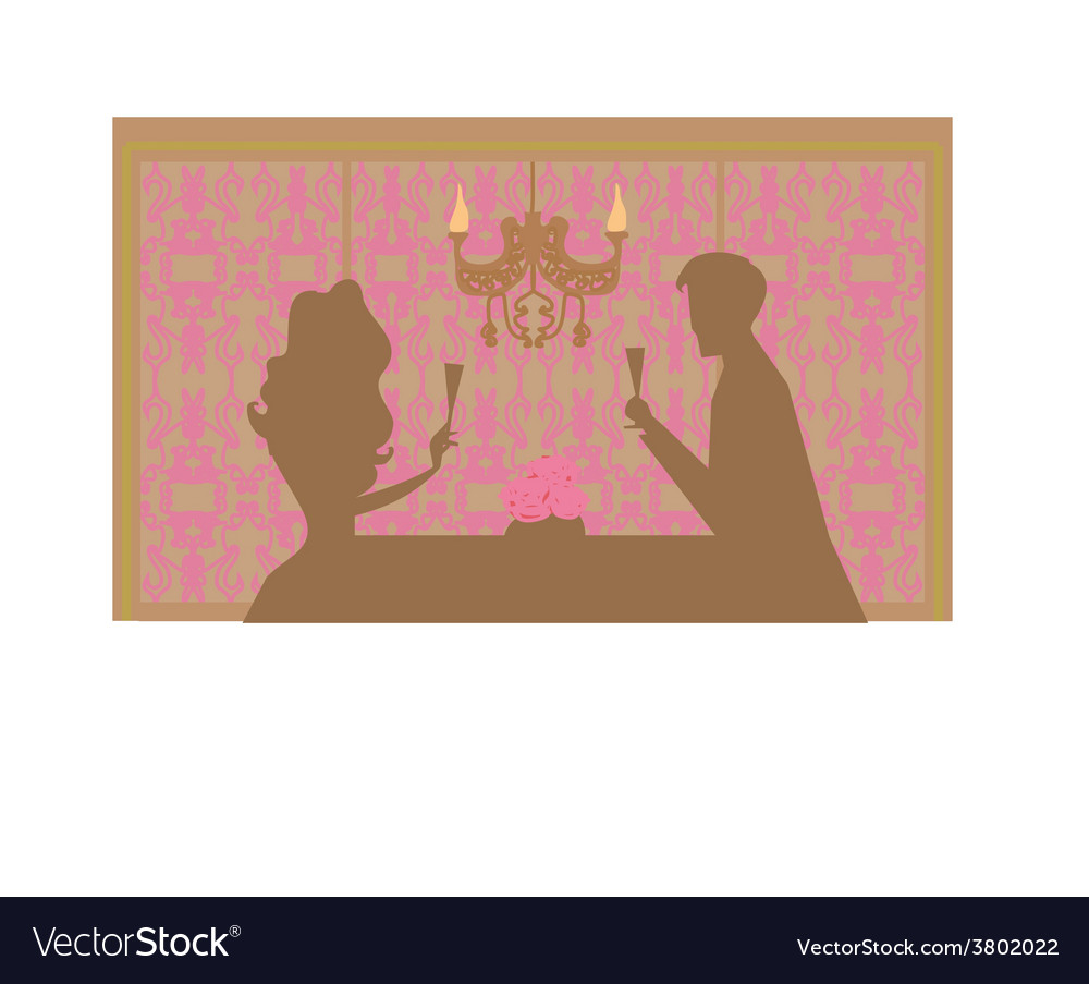 Young couple silhouettes flirt and drink champagne vector | Price: 1 Credit (USD $1)