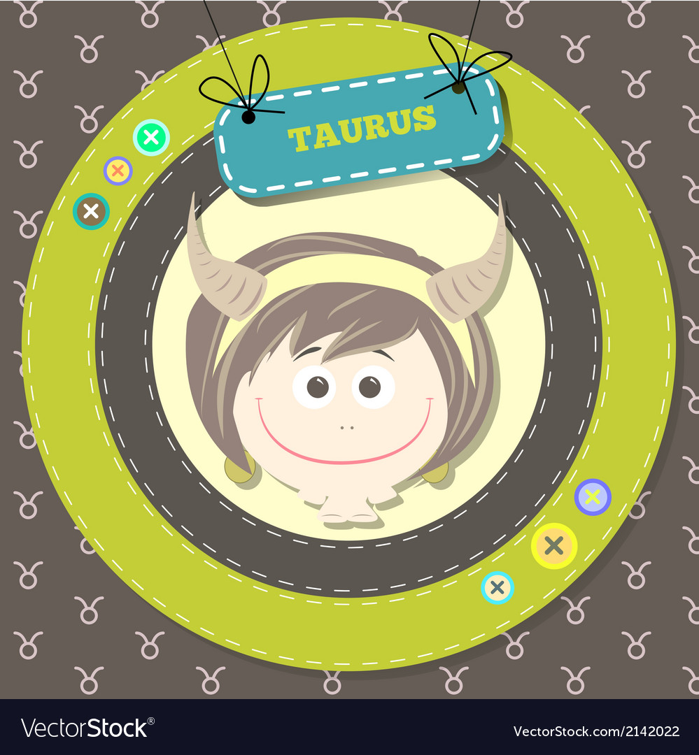 Zodiac signs collection cute horoscope - taurus vector | Price: 1 Credit (USD $1)