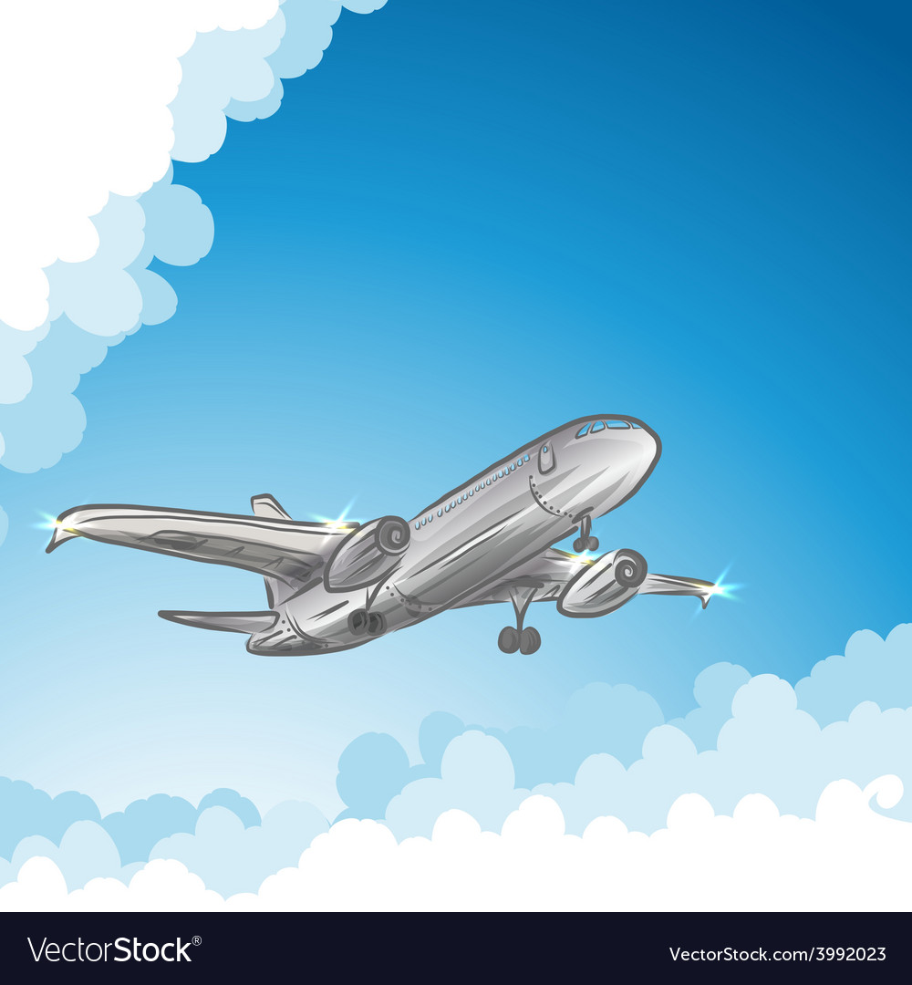 Airliner in sky vector | Price: 1 Credit (USD $1)