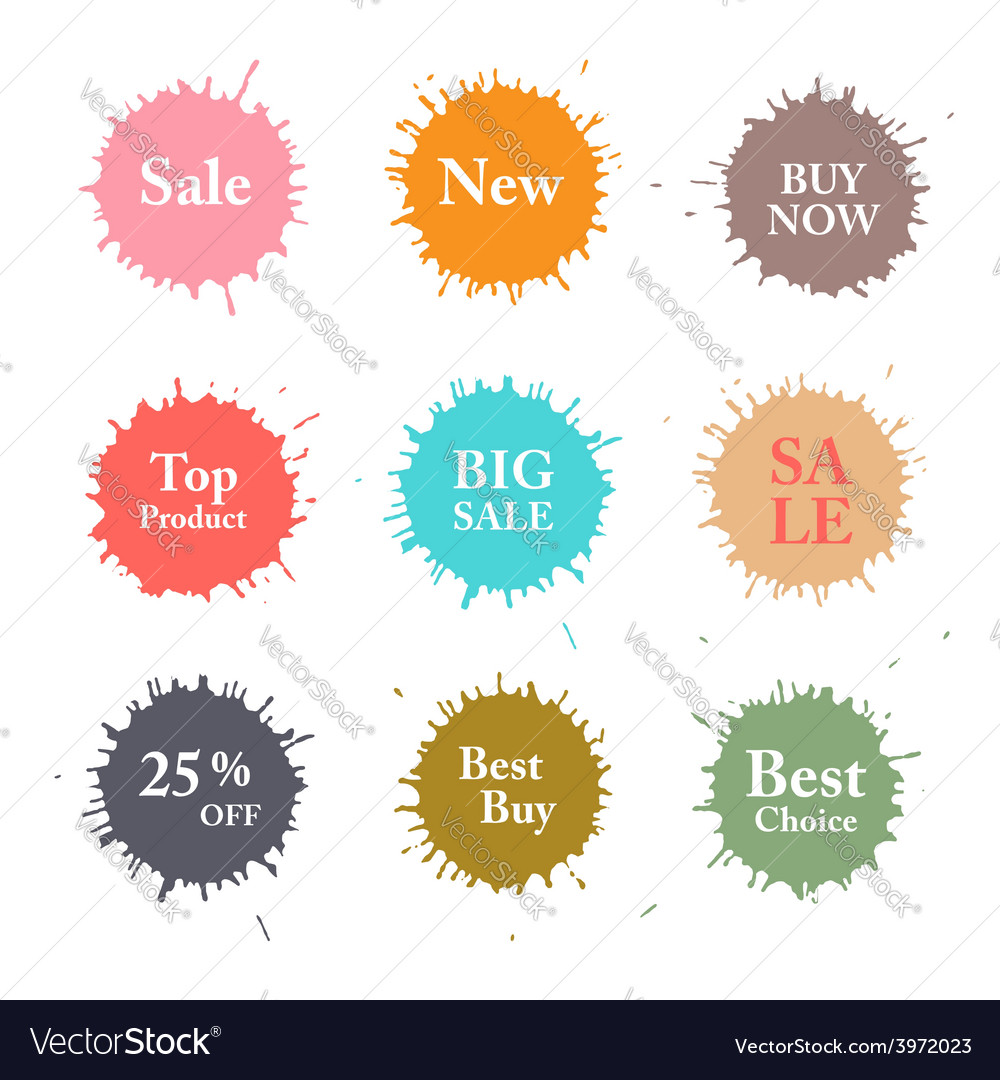 Business colorful splashes labels vector | Price: 1 Credit (USD $1)