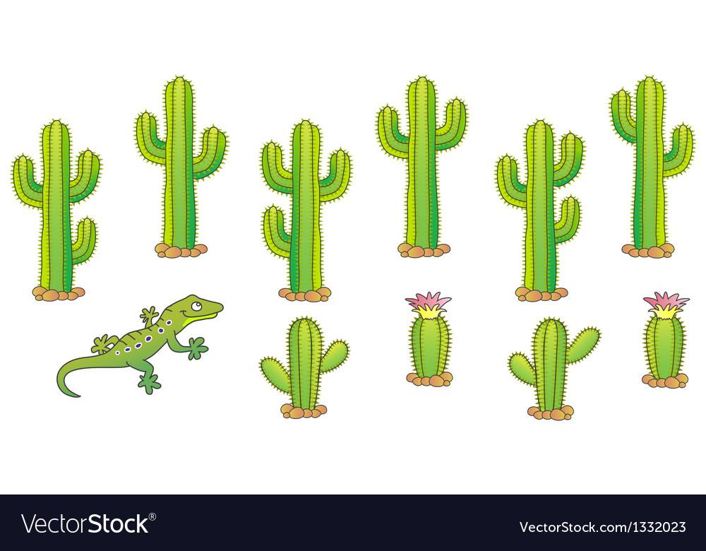 Cactus set vector | Price: 1 Credit (USD $1)