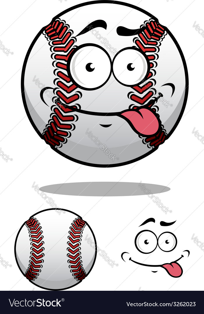 Cartoon baseball ball with a cheeky grin vector | Price: 1 Credit (USD $1)