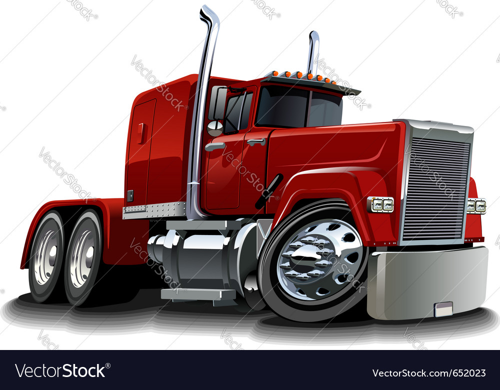 Cartoon semi truck vector | Price: 3 Credit (USD $3)