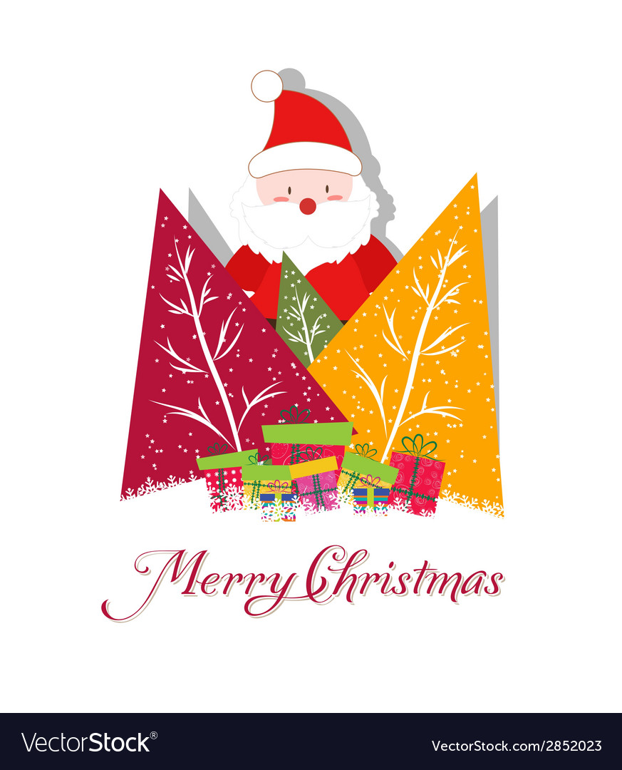 Christmas card with santa claus christmas trees vector   Price: 1 Credit (USD $1)