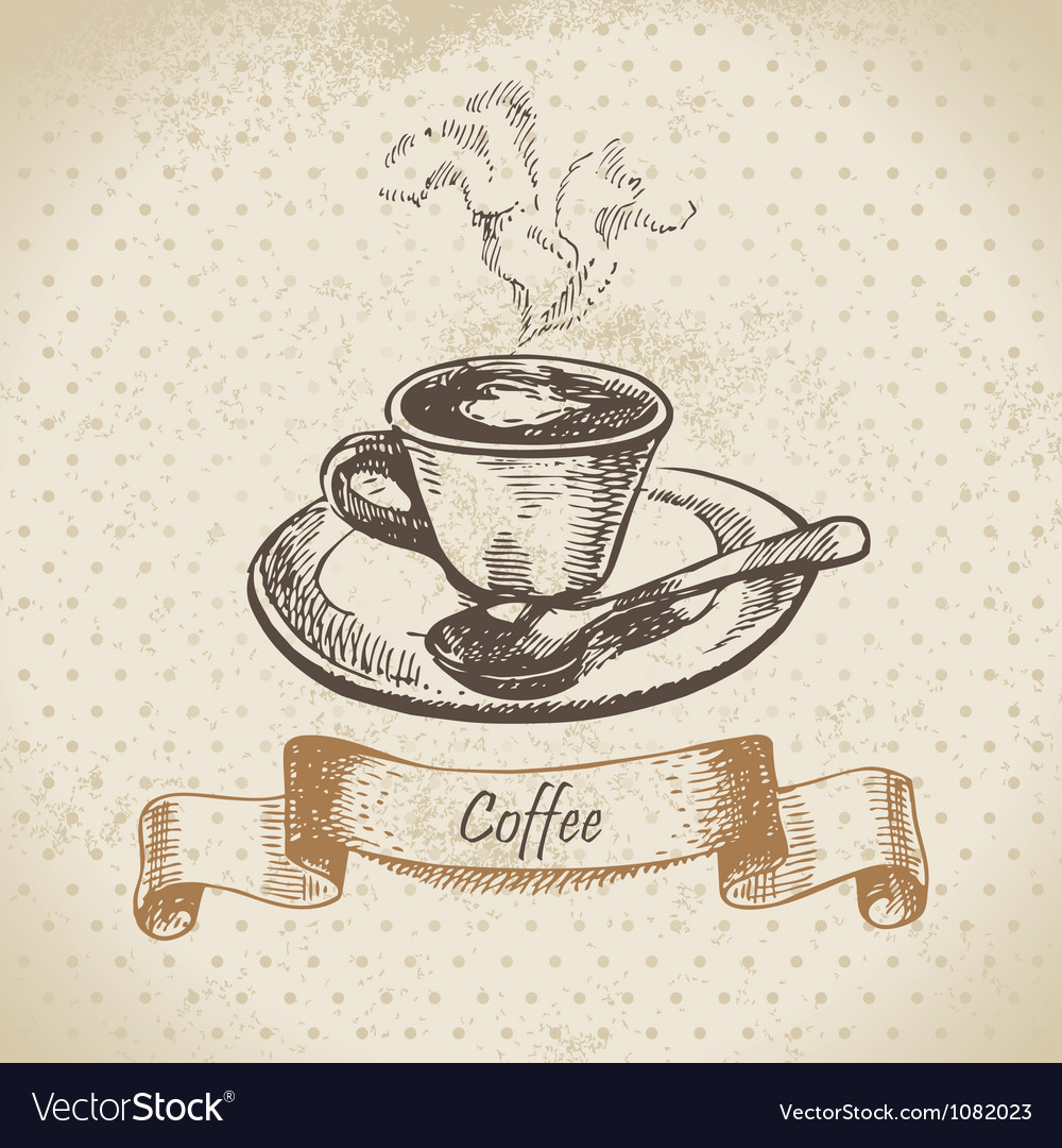 Cup of coffee hand drawn vector | Price: 1 Credit (USD $1)