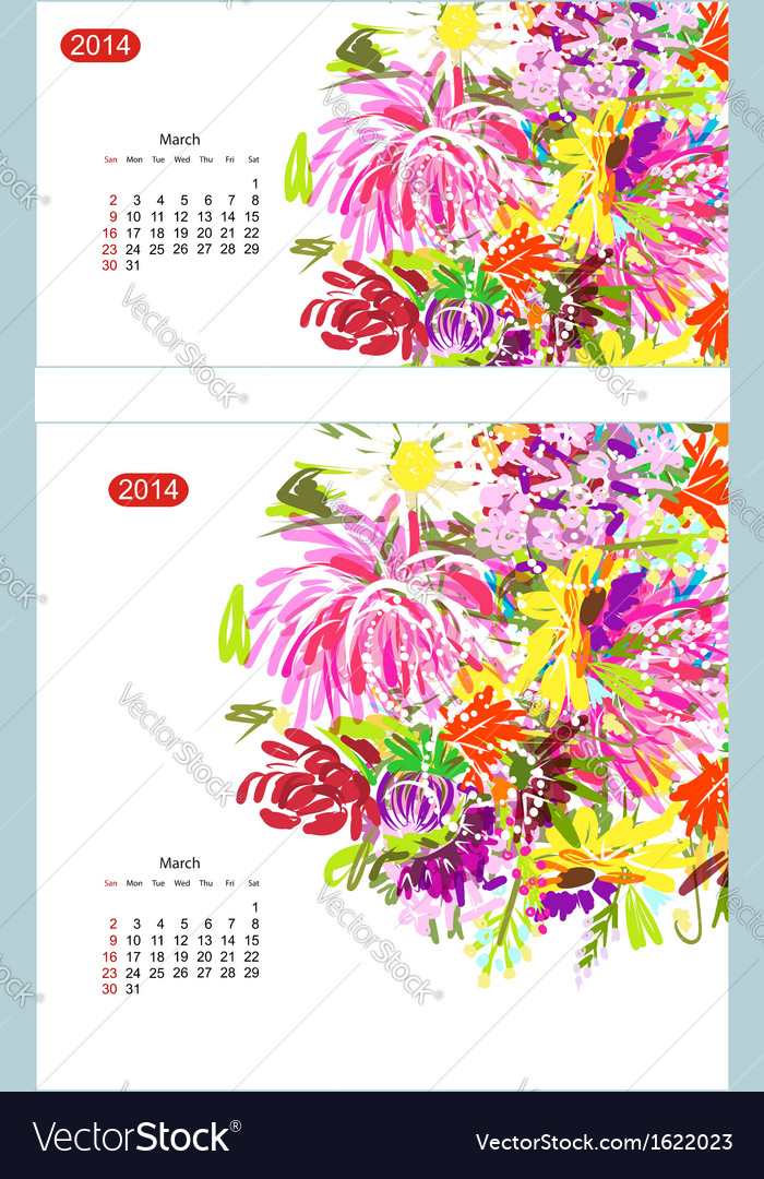 Floral calendar 2014 march vector | Price: 1 Credit (USD $1)
